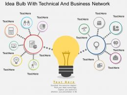 ei Idea Bulb With Technical And Business Network Flat Powerpoint Design