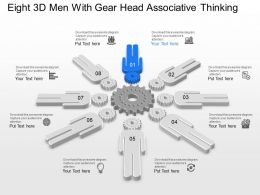 Eight 3d Men With Gear Head Associative Thinking Powerpoint Template Slide