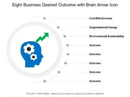 Eight Business Desired Outcome With Brain Arrow Icon
