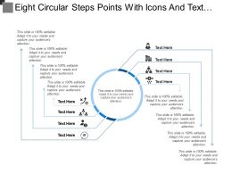 Eight Circular Steps Points With Icons And Text Holders
