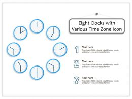 Eight Clocks With Various Time Zone Icon