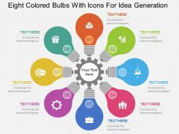 Eight Colored Bulbs With Icons For Idea Generation Flat Powerpoint Design