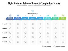 Eight Column Table Of Project Completion Status