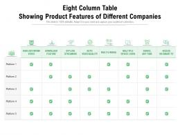 Eight Column Table Showing Product Features Of Different Companies