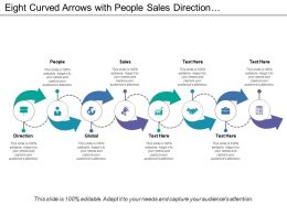 Eight Curved Arrows With People Sales Direction And Global Icons
