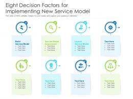 Eight Decision Factors For Implementing New Service Model