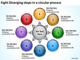 eight diverging steps a circular process Arrows Diagram Software PowerPoint Slides