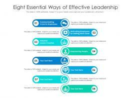 Eight Essential Ways Of Effective Leadership