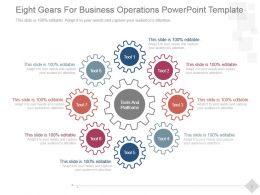 Eight Gears For Business Operations Powerpoint Template