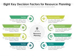 Eight Key Decision Factors For Resource Planning