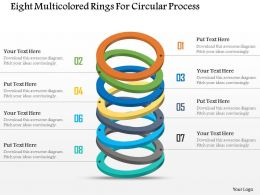 Eight Multicolored Rings For Circular Process Powerpoint Template