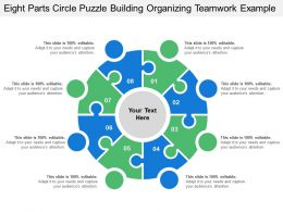 Eight Parts Circle Puzzle Building Organizing Teamwork Example