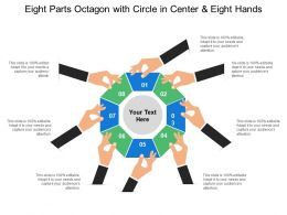 Eight Parts Octagon With Circle In Center And Eight Hands