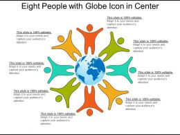 Eight People With Globe Icon In Center