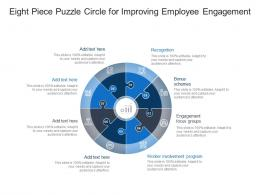 Eight Piece Puzzle Circle For Improving Employee Engagement
