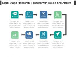 Eight Stage Horizontal Process With Boxes And Arrows