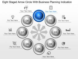 Eight Staged Arrow Circle With Business Planning Indication Powerpoint Template Slide