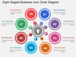 Eight Staged Business Icon Circle Diagram Flat Powerpoint Design