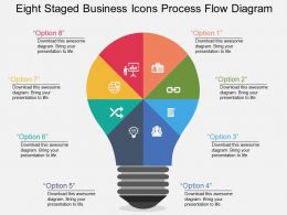 Eight Staged Business Icons Process Flow Diagram Flat Powerpoint Desgin