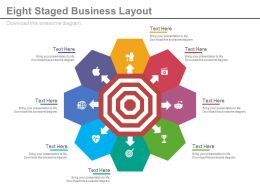Eight Staged Business Layout For Target Achievement Powerpoint Slides