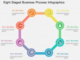 Eight Staged Business Process Infographics Flat Powerpoint Design