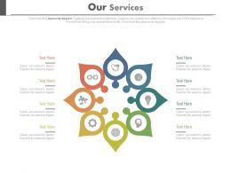 Eight Staged Circle Chart For Business Services Powerpoint Slides
