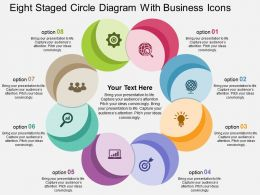 Eight Staged Circle Diagram With Business Icons Flat Powerpoint Design