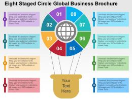 Eight Staged Circle Global Business Brochure Flat Powerpoint Design