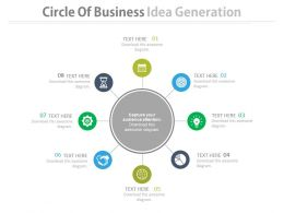 Eight Staged Circle Of Business Idea Generation Flat Powerpoint Design