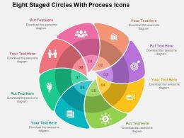 Eight Staged Circles With Process Icons Flat Powerpoint Design