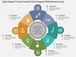 Eight Staged Circular Colored Chart Diagram With Business Icons Flat Powerpoint Design