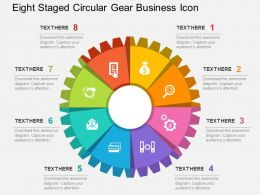 Eight Staged Circular Gear Business Icon Flat Powerpoint Design