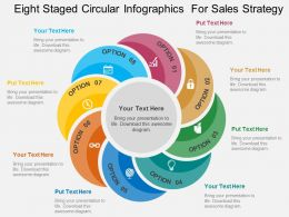 Eight Staged Circular Infographics For Sales Strategy Flat Powerpoint Design