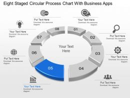 Eight Staged Circular Process Chart With Business Apps Powerpoint Template Slide