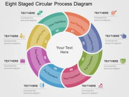 Eight Staged Circular Process Diagram Flat Powerpoint Design