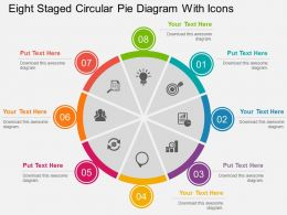 Eight Staged Cirular Pie Diagram With Icons Flat Powerpoint Design