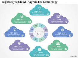 Eight Staged Cloud Diagram For Technology Flat Powerpoint Design