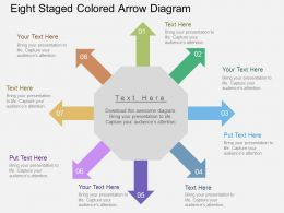 Eight Staged Colored Arrow Diagram Flat Powerpoint Desgin