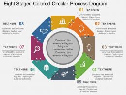 Eight Staged Colored Circular Process Diagram Flat Powerpoint Design