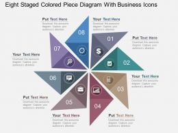 Eight Staged Colored Piece Diagram With Business Icons Flat Powerpoint Design