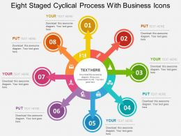 Eight Staged Cyclic Process With Business Icons Flat Powerpoint Design