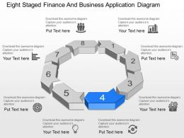 Eight Staged Finance And Business Application Diagram Powerpoint Template Slide