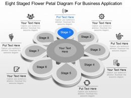 Eight Staged Flower Petal Diagram For Business Application Powerpoint Template Slide