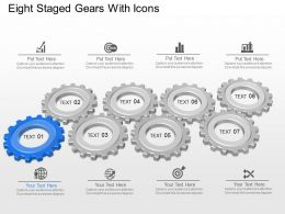 Eight Staged Gears With Icons Powerpoint Template Slide