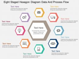 Eight Staged Hexagon Diagram Data And Process Flow Flat Powerpoint Design