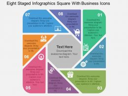 Eight Staged Infographics Square With Business Icons Flat Powerpoint Design