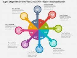 Eight Staged Interconnected Circles For Process Representation Flat Powerpoint Design