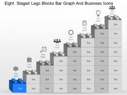Eight Staged Lego Blocks Bar Graph And Business Icons Powerpoint Template Slide
