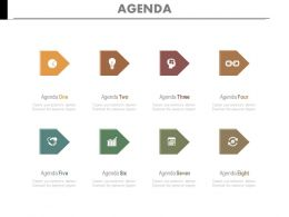 Eight Staged Linear Chart For Marketing Agenda Powerpoint Slides