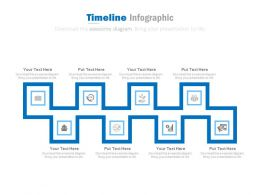 Eight Staged Linear Timeline Infographics for Banking Solutions Powerpoint Slides